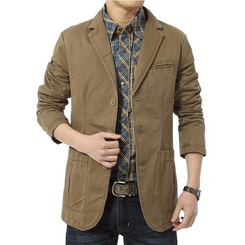 Blazer men Casual Blazers Cotton Denim Parka Men's slim fit Jackets Army Green Khaki Large Size M-XXXL 4XL outdoors outwear coat