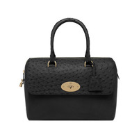 Del Rey in Black Ostrich & Micrograin Mix | Family | Mulberry