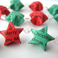 Christmas Garland - Red and Green Lucky Stars