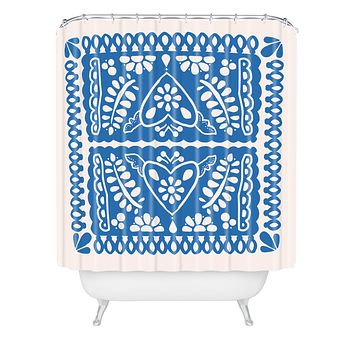 Natalie Baca Fiesta de Corazon in Blue Shower Curtain
