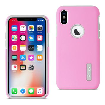 iPhone X Solid Armor Dual Layer Protective Case In Pink