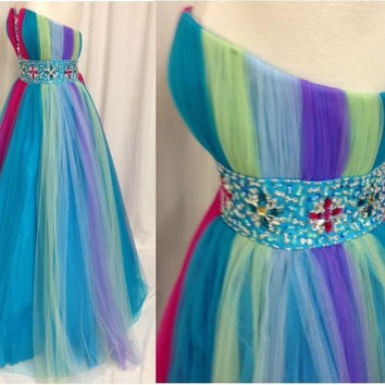 Colorful Rainbow 2016 Long Prom Dresses A Line Sweetheart Bing Crystals Beads on Waist Tulle Formal Evening Party Dress