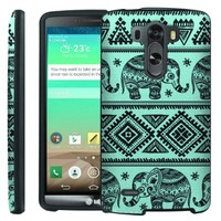 [ManiaGear] Design Graphic Image Shell Cover Hard Case (Teal Aztec Elephant) for LG G3
