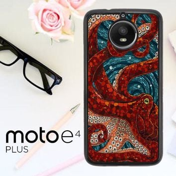 Kraken Octopus Stained Glass L1586 Motorola Moto E4 Plus Case