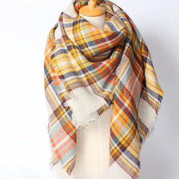 The bloggers favorite Zara inspired plaid tartan scarf mustard multicolored
