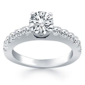 14K White Gold Diamond Micro Prong Cathedral Engagement Ring, size 4.5