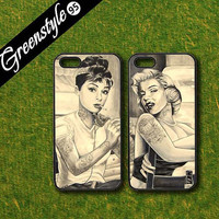 blackberry Z10,Q10 case,Hepburn and Marilyn Monroe,Best friends,in pair two pcs,google nexus 4/5 case,samsung galaxy S3mini/S4mini/S5 case
