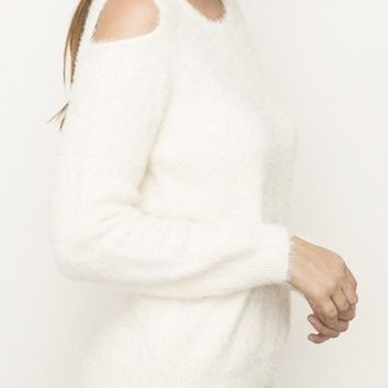 Fuzzy Cold-Shoulder Pullover
