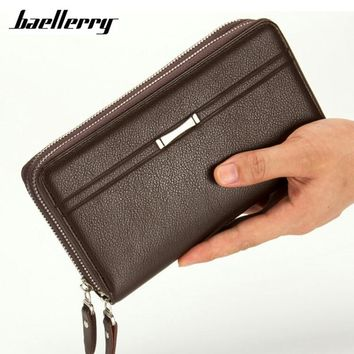 Baellerry Business Long Men Wallets PU Leather Clutch Purse Men Handy Bag Carteira Masculina Black Double Zipper Large Wallet