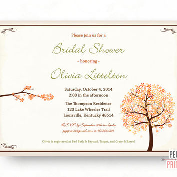 Fall Bridal Shower Invitation - Printable - Tree Bridal Shower Invitation - Autumn Bridal Shower Invitations - Fall Wedding Shower Invites