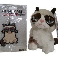 "Ganz Grumpy Cat Gift Set: 5"" Grumpy Cat Sitting and Grumpy Key Chain"