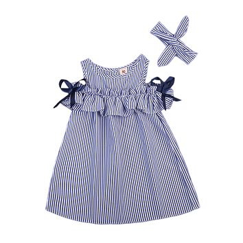 Hot Summer Toddler Kids Baby Girls Clothes Blue Striped Off-shoulder Party Gown Formal Dress