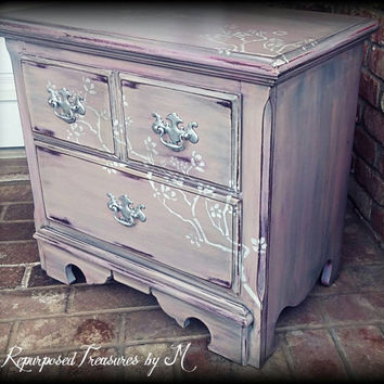 Vintage Nightstand, pink 2 drwr dresser, childrens furniture,, Rustic nightstand, painted furniture, rustic dresser, distressed dresser