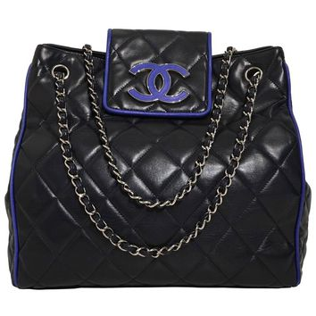 Chanel Navy Quilted Leather Bag