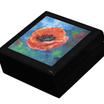 Keepsake/Jewelry Box - Poppy Flower Ceramic Tile Lid