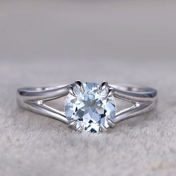 1.2 Carat White Gold Aquamarine Engagement Rings Solitaire Promise Ring 8 Claw Prongs 14k/18k