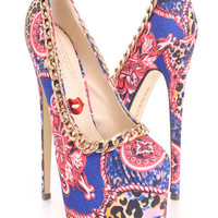 Blue Multi Chain Trimmed Pump High Heels Canvas