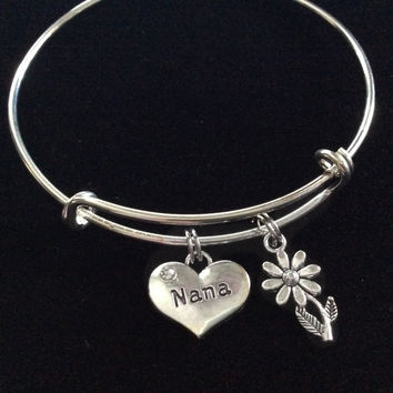 Nana Silver Charm Silver Plated Bracelet Adjustable Wire Bangle Expandable Trendy Handmade Grandmother Grandma