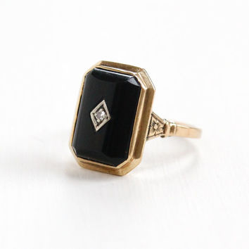 Antique 10K Yellow Gold Black Onyx & Diamond Floral Ring - Art Deco 1930s Size 8 Rectangular Flower Accented Fine Jewelry
