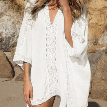 White Deep V-neck Lace Insert Loose Dress