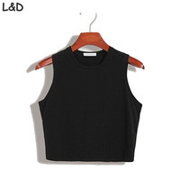 Fitness Skinny Crop Top 2017 New Women Tight Bustier Crop Top Skinny T-Shirt Belly Casual Dance Tops Vest Tank Tops