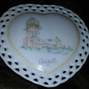 1988-Precious-Moments Heart -Shaped Trinket Box August
