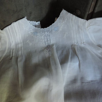 Vintage Infant Dress Handmade Embroidered White Cotton Baby Dress and Slip 1940s