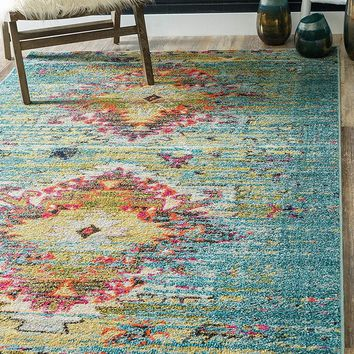 9325 Turquoise Colorful Distressed Oriental Area Rugs