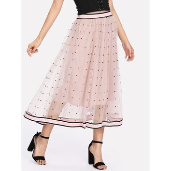 Pink Polka Dot Long Full Shift Skirt