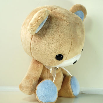 Cute Bellzi Stuffed Animal Brown w/ Blue Contrast Bear Plushie Doll - Teddi