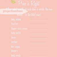 Pink and gold price is right baby shower game printable for girl baby shower pink with gold glitter hearts digital file diy