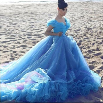 Vintage Blue Organza Ruffles Ball Gowns Prom Dresses For Sweet 16 Draped Off the Shoulder Prom Gowns