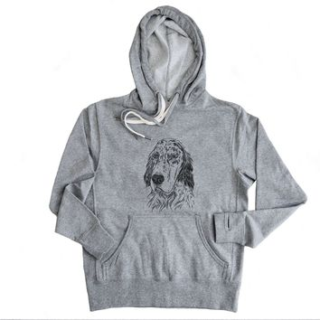 Aviator Hutch the English Setter - Grey French Terry Hooded Sweatshirt