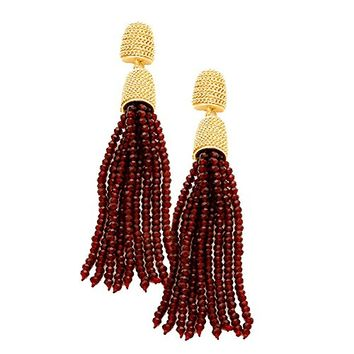 Gold and Burgundy Beaded Tassel Drop Dangle Earrings 348803
