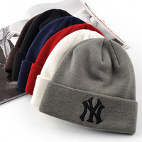 NY knitted hats MLB yankees couples men and women
