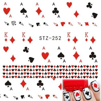 """1 Sheets DIY Cute Playing Card """" A, K"""" Red Heart Water Transfer Sticker Decals for Nail Art Temporary Tattoos STZ252"""