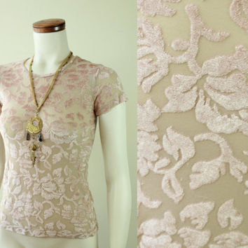 80s/90s - Nude - Pink - See Through - Floral - Velvet Burnout- Stretch Top - T Shirt