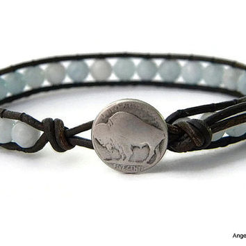 Mens Bracelet Leather Wrap Bracelet Buffalo Nickel Single Wrap