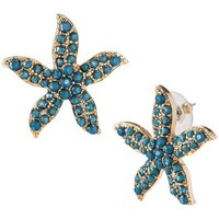 Starfish Button Earrings - Turquoise