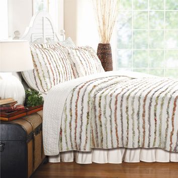 Twin size 100% Cotton Ruffle Stripes Quilt Set - Machine Washable