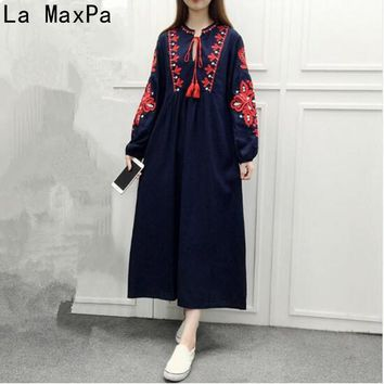 Maxi Dresses High Quality National Style Long Sleeves Long Section Embroidery lace loose A word Lantern Sleeves Dress Vestidos