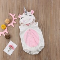 Fashion Cosplay Costume Newborn Unicorn Baby Girls Unicorn Romper Jumpsuit Jumper Outfits Hooded Clothes