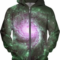 Purple Green Whirlpool Galaxy | Universe Galaxy Nebula Star Clothes | Rave & Festival Shirt