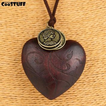 Vintage Wooden Heart Pendant Necklace