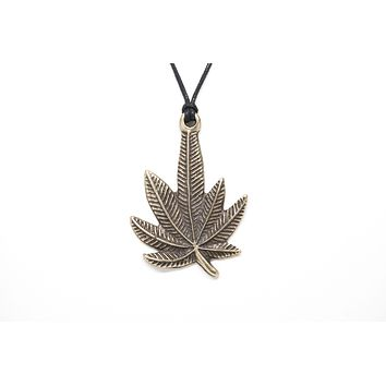 Marijuana Leaf Unisex Necklace with Rope