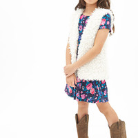FOREVER 21 GIRLS Pleated Floral A-Line Dress (Kids) Navy/Pink