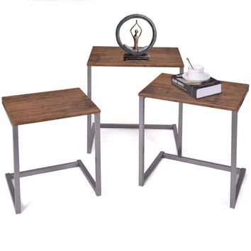 3 Piece Steel Stacking or Nesting Coffee End Table Desk