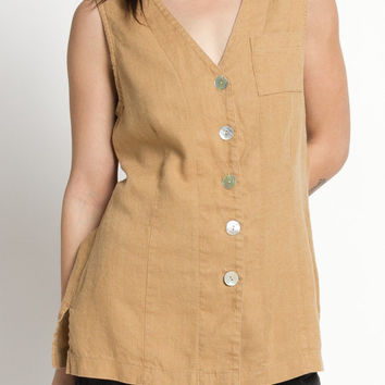 Vintage 90s Mustard Brown Button Up Sleeveless Linen Tunic Top | M