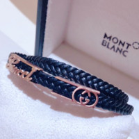 GUCCI Personality Fashion New Leather Rope Women Men Bracelet Rose Gold
