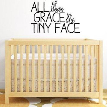 """XL All Of God's Grace In One Tiny Face Vinyl Wall Decal Sticker for Baby Nursery 32""""w x 21""""h V2"""